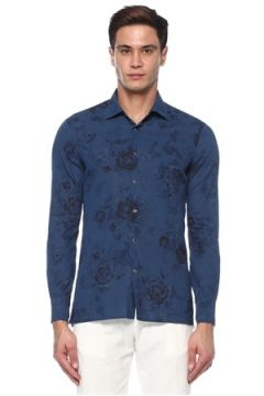 Kiton Erkek Lacivert Çiçek Desenli Gömlek Mavi L EU(118214548)