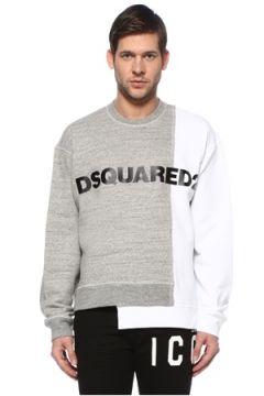 Dsquared2 Erkek Beyaz Gri Logolu Sweatshirt S EU(127683996)