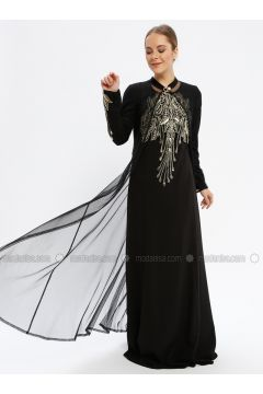 Black - Fully Lined - Crew neck - Muslim Evening Dress - Le Mirage(110337552)