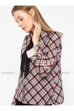Black - Plaid - Point Collar - Blouses - İVRİZ(110339198)