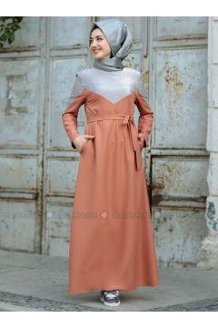 Terra Cotta - Crew neck - Unlined - Dresses - Gamze Özkul(110331690)