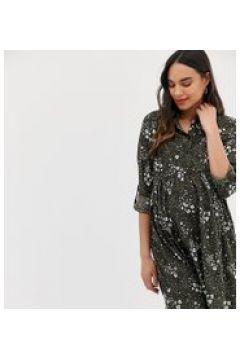 New Look Maternity - Vestito camicia con motivo verde(120385544)