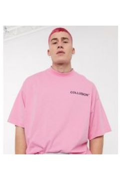 COLLUSION - T-shirt oversize rosa con logo in rilievo(112517892)
