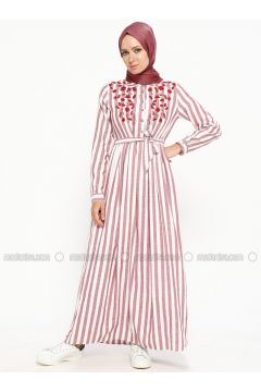 Maroon - Stripe - Point Collar - Fully Lined - Cotton - Dresses - SUEM(110315271)