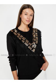 Crew neck - Black - Sweat-shirt - Koton(110323836)
