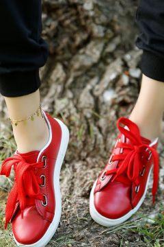 Haydigiy Kadın Kırmızı Kalın Ipli Spor Ayakkabı(124837180)