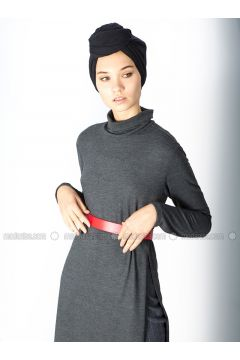 Gray - Polo neck - Unlined - Cotton - Dresses - MisCats(110322734)