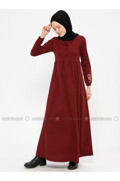 Maroon - Crew neck - Unlined - Dresses - Dadali(110336729)