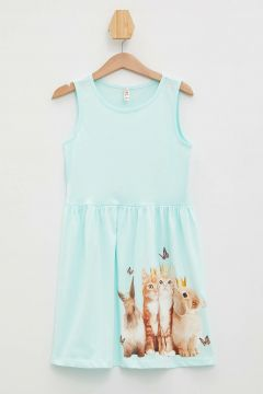 Robes Pour Fille DeFacto Turquoise(109327890)