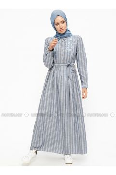 Blue - Stripe - Point Collar - Fully Lined - Cotton - Dresses - SUEM(110315266)