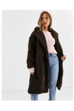 QED London - Cappotto oversize in pile borg-Marrone(120389684)