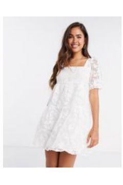 Fashion Union - Vestito grembiule corto trasparente bianco a fiori-Beige(120301843)