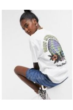 """Obey - T-shirt oversize con scritta \""""take back the planet\""""-Bianco(120382425)"""