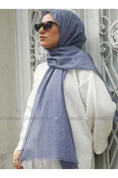 Blue - Printed - Plaid - Cotton - Shawl - Benatt(110330026)