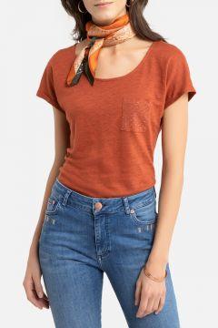 Camiseta de lino, cuello redondo, manga corta(108523177)