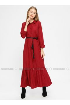Maroon - Point Collar - Unlined - Dresses - Kaktüs(110319012)