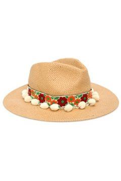 Helene Berman London Kadın Bej Çiçekli Bant Detaylı Ponponlu Şapka EU(114438712)
