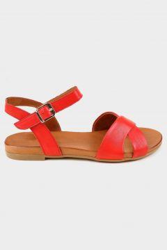 SHOELAB Kırmızı Hakiki Deri Kadın Comfort Sandalet(118221806)