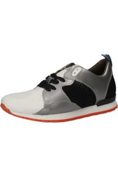 Chaussures Date sneakers blanc textile gris cuir AE584(115399516)