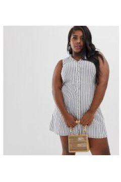 Vero Moda Curve - Gestreiftes Kleid mit Knopfleiste vorne - Mehrfarbig(95030597)