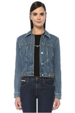 Stella McCartney Kadın Mavi Polo Yaka Logo Jakarlı Denim Ceket 44 IT(107373582)