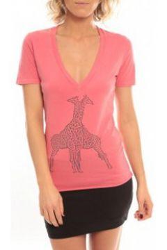 T-shirt So Charlotte V neck short sleeves Giraffe T00-91-80 Rose(127873872)