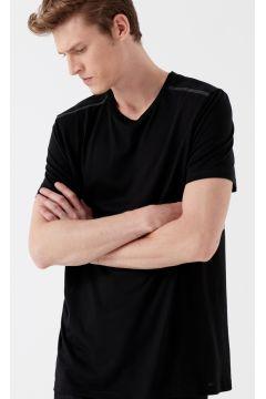 Mavi Omzu Baskılı Siyah T-Shirt(114230794)