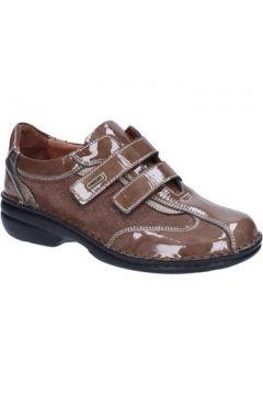 Baskets Susimoda WALKSAN sneakers marron cuir verni beige textile AC90(115395407)