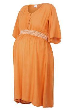 MAMA.LICIOUS Gesmokte Taille Umstandskleid, Kurz Damen Orange(109110499)