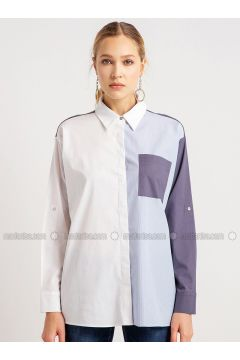 Blue - White - Stripe - Point Collar - Blouses - NG Style(110341195)