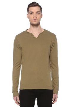 Zadig&Voltaire Erkek Haki Düğme Detaylı Uzun Kollu T-shirt XL EU(116665559)