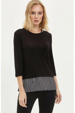 DeFacto Kadın Düğme Detaylı Uzun Kollu T-shirt(108642365)