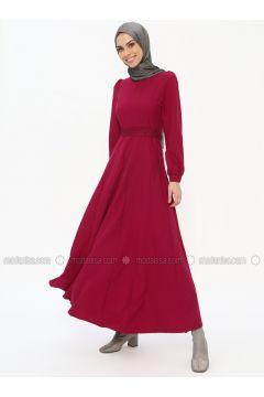 Purple - Fuchsia - Cherry - Crew neck - Unlined - Dresses - Tuana(110337067)