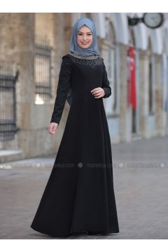 Black - Crew neck - Unlined - Dresses - Rana Zenn(110331717)
