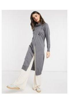 Elvi - Vestito maglia grigio con collo a imbuto(124808535)