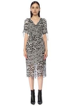 Allsaints Kadın Carla Remix Zebra Desenli Midi Elbise Beyaz 0 US(117384853)