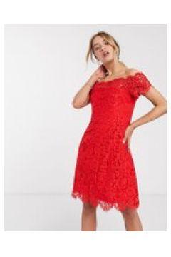 Whilstes - Vestito in pizzo con spalle scoperte-Rosso(120300569)