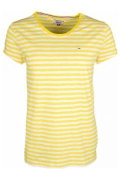T-shirt Tommy Jeans T-shirt col rond rayé jaune et blanc pour femme(115399703)