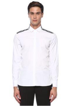 Neil Barrett Erkek Beyaz Şerit Baskı Detaylı Gömlek S EU(118214589)