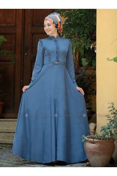 Blue - Crew neck - Fully Lined - Dresses - Gamze Özkul(110316553)
