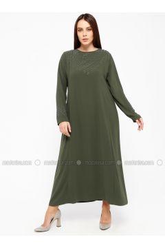 Khaki - Fully Lined - Crew neck - Plus Size Dress - Alesya By Tuğba(110317400)