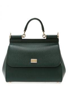 Dolce&Gabbana Kadın Sicily Haki Dokulu Logolu Deri Çanta Yeşil EU(113464103)