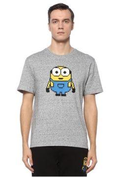 8-Bit by Mhrs Erkek Gri Melanj 3D Figür Baskılı Basic T-shirt S EU(121912330)