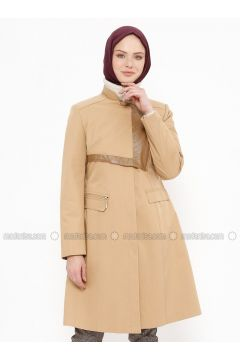 Camel - Fully Lined - Crew neck - Cotton - Coat - Tekbir(110335667)