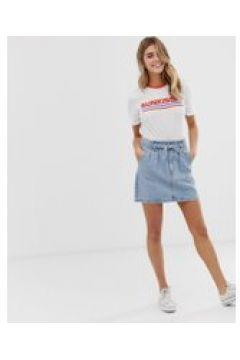 Hollister - Gonna di jeans con vita raccolta - Marrone(92922518)