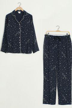 Kadın Baskılı Viskon Pijama Takımı(126605458)