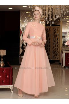 Salmon - Muslim Evening Dress - Selma Sarı Design(110318633)
