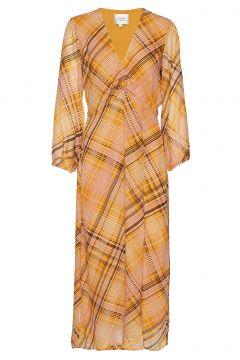 Loch Midi Dress Kleid Knielang Gelb SECOND FEMALE(114163790)