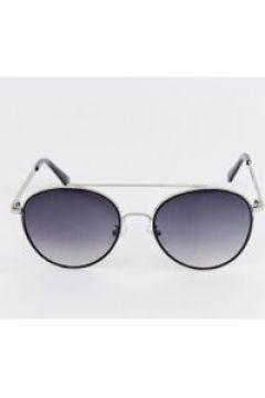 Esprit - Runde Sonnenbrille mit doppeltem Brauensteg in Schwarz - Schwarz(91509766)