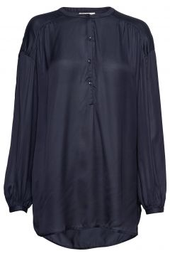 Nellie Satin Blouse Bluse Langärmlig Blau LEXINGTON CLOTHING(95002738)